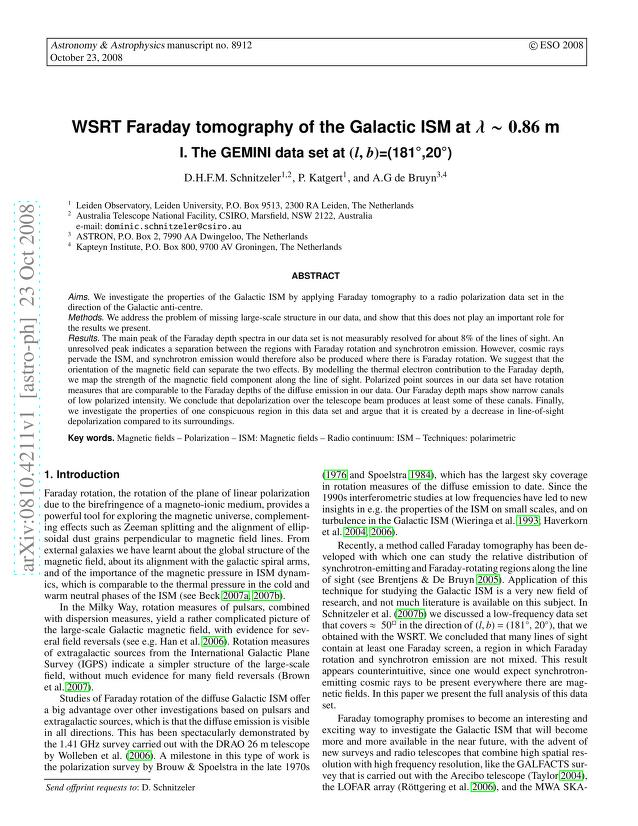 D. H. F. M. Schnitzeler - WSRT Faraday tomography of the Galactic ISM at λ~ 0.86 m