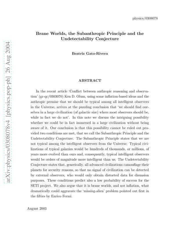 Beatriz Gato-Rivera - Brane Worlds, the Subanthropic Principle and the Undetectability Conjecture